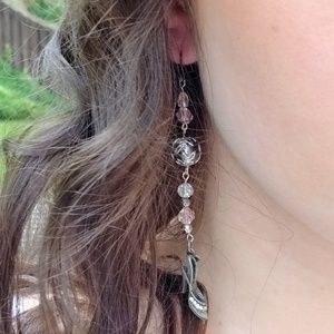 Silver Slipper Beaded Earrings